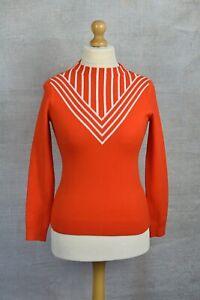KAREN MILLEN Orange statement chevron print knitted skinny fit jumper LARGE 12