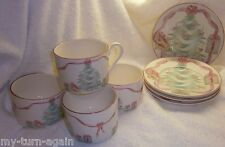 Vintage 1989 Sango Home for Christmas Pink Bows Candles Flat Cup Saucer Set 4