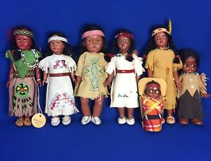 Vintage Native American Indian Dolls Babies Beaded Leather Outfits Lot of 7