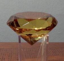 """YELLOW Glass Diamond Shaped Paperweight 60mm / 2-1/4"""" Diameter"""