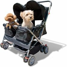 Pet Stroller Cat Dog 4-Wheel Double Twin Folding Carrier