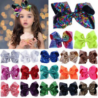 8 inch Cute Large Sequin Hair Bow Alligator Clips Headwear Girl Hair Accessories