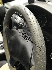 FOR VW GOLF PLUS GREY PERFORATED LEATHER STEERING WHEEL COVER YELLOW DOUBLE STCH