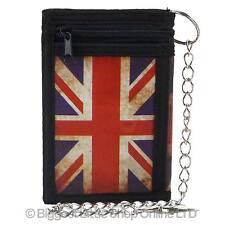 NUOVA linea uomo Ragazzi Union Jack Tri-fold Portafoglio con Catena Clip Britannico Bandiera UK