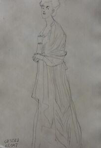 Fine Art noveau, Secession drawing, study of a woman, signed Gustav Klimt