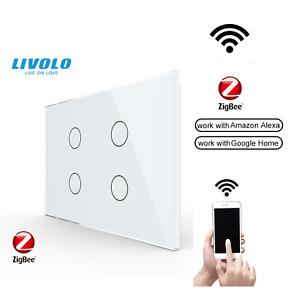 Livolo  AU Standard Smart Zigbee 4Gang 1Way Touch Glass Light Wifi Switch