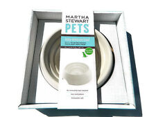 Martha Stewart Dog Bowl Easy Measure White Ivory Pet Dish New