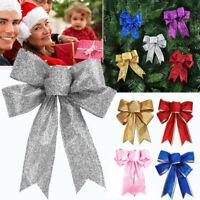 5Pcs Large Glitter Ribbon Bow Christmas Tree Ornaments Xmas Party Home Decor