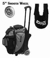 KAZE 2 Ball Bowling Roller Bag Tote SeeSaw Cleaner 5-inch big smooth wheel two