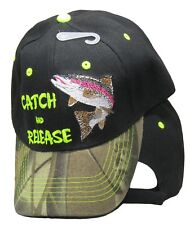 Catch & Release Trout Fishing Camouflage Camo Black Embroidered Cap Hat 936
