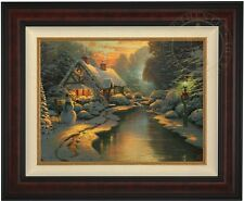 "Thomas Kinkade CHRISTMAS EVENING 18"" x 24"" LE Gallery Proof Canvas (Burl Frame)"