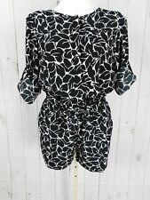 6702497f6db LOFT Black White Floral Print Cuffed Elbow Sleeve Romper - Size 0P