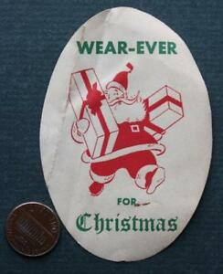 1950s Oberlin Ohio aluminum cookware Santa Claus- Christmas VINTAGE oval decal!