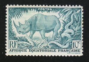 French Equatorial Africa 1946 Sc 166 MLH Black Rhinoceros & Rock Python WWF