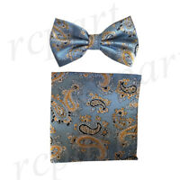 New Men's micro fiber Pre-tied Bow tie & hankie blue gold paisley formal