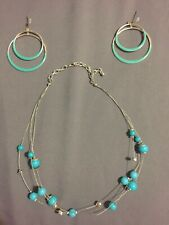 Aqua Blue Earrings And Necklace Set