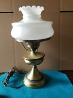 """Vtg 17"""" Brushed Brass Boudoir/ Nightstand Lamp 6 3/4"""" Fitter"""
