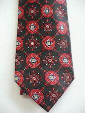 Burma Bibas Tie Silk Black with Red Medallions Motif NWTS Quality RET 65