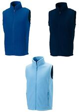 Russell Plain Mens BLUE Sleeveless Fleece Gilet Bodywarmer Vest No Logo
