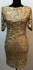 GOLD Sexy sequin Bodycon Cocktail Party Dress Size M