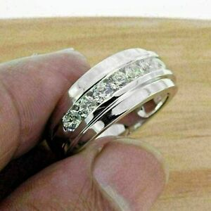2 Ct Round Cut Diamond Men's Wedding Band Channel Set Ring 14K White Gold Finish