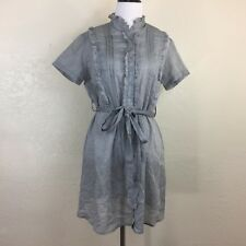 Twenty One Size L Silver Gray Ruffle Sheer Short Sleeve Dress Button Belted BK2