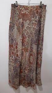 Vintage Boho Brown Autumn Paisley Midi Skirt Size 12/14 Hippie Gypsy Peasant