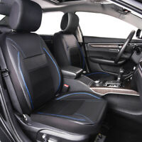 Universal Car Seat Cover Leather Blue Black 2 Front For Car Truck SUV HONDA FORD