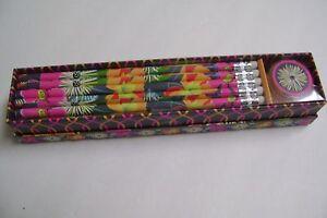 Vera Bradley Pencil Box Set Jazzy Blooms  #11270-138 New 10#2Pencils/Sharpner