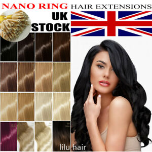 """7A 1g 14""""-24"""" Nano Rings Tip Double Drawn Russian Remy Human Hair Extensions UK"""