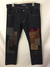 Junya Watanabe Comme des Garcons Men's Jeans Size L Dark Blue Patches Leather