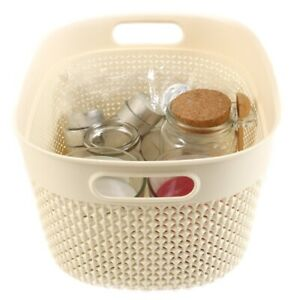 SMALL PLASTIC STORAGE BASKET Cream/Ivory Bathroom Towel Makeup Organiser Tidy