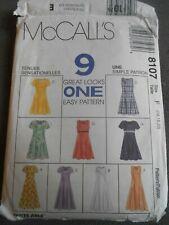 MCCALLS 8107 SEWING PATTERN 9 GREAT LOOKS DRESS SIZE 16 - 20