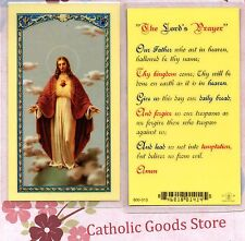 Sacred Heart of Jesus, with the Lord's Prayer - Laminated Holy Card