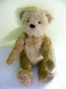 """Vintage teddy bear golden mohair hand stitched nose brown suede paws 16"""" tall"""