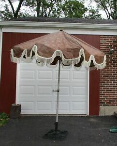 Vintage Umbrella Outdoor Patio 7 ft Brown w/ Fringe Floral Fall Crank Tilt