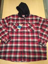 NWT Wrangler Flannel Quilt Lined Hooded Work Shirt Jacket Red Checkered Size 2XL