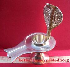 New listing Brass Yoni Holder Shaligram Shiva Lingam Lingham Hindu Puja Stand Naag~10.50 Cm