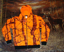 Blaze Orange Camo Zippered Hooded Sweatshirt  Deer Hunting  Camo Jacket       M
