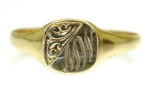 Charming Monogrammed MW 9ct Yellow Gold Signet Ring size Y ~ 12 1/4
