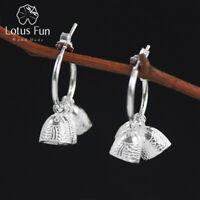 Handmade Fish Bell Solid 925 Sterling Silver Jewelry Dangle Earrings for Women