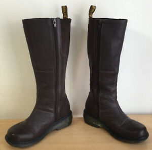 Dr Doc Martens Viola High With Zip Brown Leather Biker Boots Size UK 3 EU 36