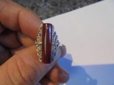superbe bague ancienne en argent925 marcassite et pierre minerale.