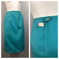 1960s Pencil Skirt / NWT Blue High Waist Fitted Skirt / Small