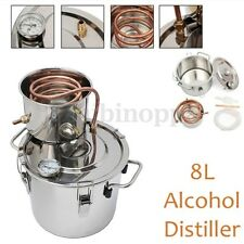 2Gal 8L DIY Alcohol Distiller Moonshine Ethanol Copper Still Stainless Boiler