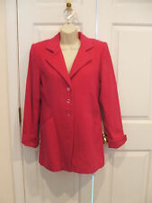 new in pkg  $ 119 J.R.T. WOOL  blend fuchsia car coat jacket size 6