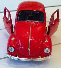 Modellauto VW Käfer Rot/ Rückzugmotor / Druckgussmodel 1:38 OVP Welly