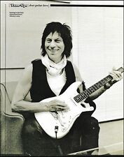 Jeff Beck backstage Tokyo 2009 with Fender Stratocaster guitar b/w pin-up photo