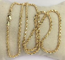 "18k Solid Yellow Gold Italian Rope Chain/Necklace. 24"". 9.80 Grams"