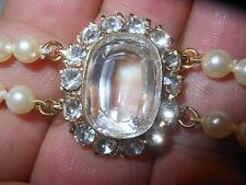 HOBE Vintage 2Strand Majorca Pearl NECKLACE 7CT Open Back Big Clear Crystal MINT